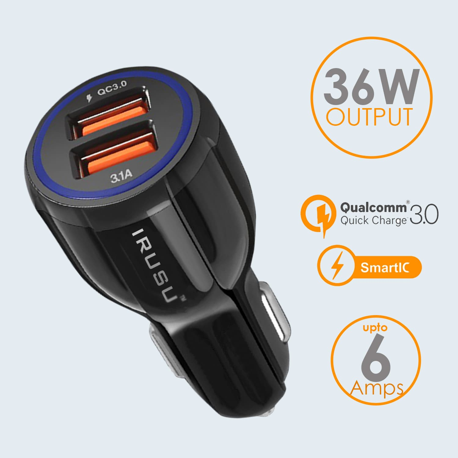 Irusu Dual Port USB Car Charger with 6Amp